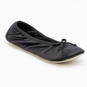 🆕 Isotoner Black Satin Ballerina Slippers